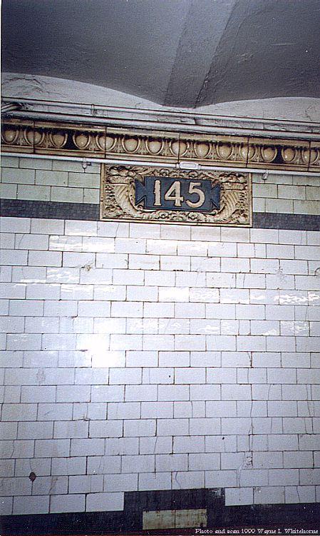 (88k, 449x751)<br><b>Country:</b> United States<br><b>City:</b> New York<br><b>System:</b> New York City Transit<br><b>Line:</b> IRT West Side Line<br><b>Location:</b> 145th Street<br><b>Photo by:</b> Wayne Whitehorne<br><b>Date:</b> 5/15/1999<br><b>Notes:</b> 'Plentys Horn' cartouche<br><b>Viewed (this week/total):</b> 2 / 4015