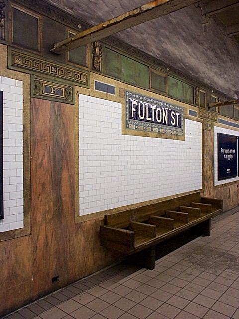 (58k, 480x640)<br><b>Country:</b> United States<br><b>City:</b> New York<br><b>System:</b> New York City Transit<br><b>Line:</b> IRT East Side Line<br><b>Location:</b> Fulton Street<br><b>Photo by:</b> Richard Brome<br><b>Date:</b> 3/18/1999<br><b>Viewed (this week/total):</b> 3 / 4954