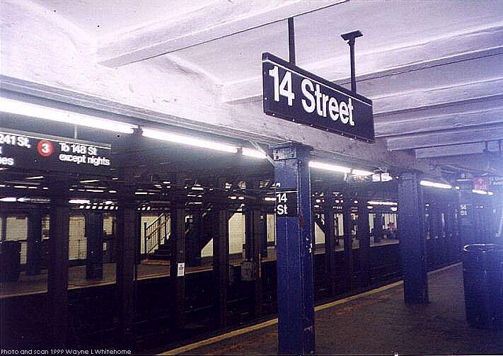 (71k, 711x503)<br><b>Country:</b> United States<br><b>City:</b> New York<br><b>System:</b> New York City Transit<br><b>Line:</b> IRT West Side Line<br><b>Location:</b> 14th Street<br><b>Photo by:</b> Wayne Whitehorne<br><b>Date:</b> 8/14/1999<br><b>Viewed (this week/total):</b> 1 / 7611