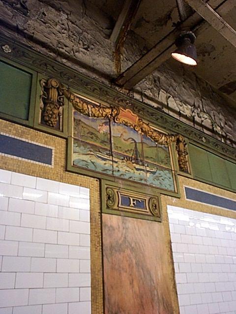 (57k, 480x640)<br><b>Country:</b> United States<br><b>City:</b> New York<br><b>System:</b> New York City Transit<br><b>Line:</b> IRT East Side Line<br><b>Location:</b> Fulton Street<br><b>Photo by:</b> Richard Brome<br><b>Date:</b> 3/18/1999<br><b>Notes:</b> 'Clermont' bas-relief plaque<br><b>Viewed (this week/total):</b> 3 / 4693