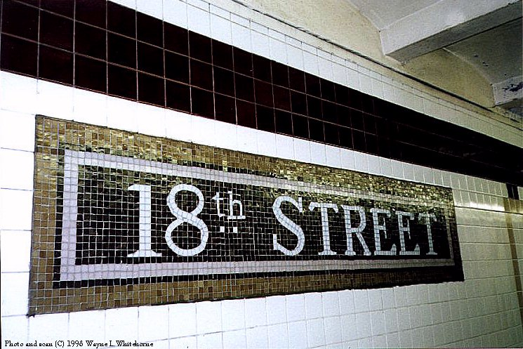 (122k, 745x497)<br><b>Country:</b> United States<br><b>City:</b> New York<br><b>System:</b> New York City Transit<br><b>Line:</b> IRT West Side Line<br><b>Location:</b> 18th Street<br><b>Photo by:</b> Wayne Whitehorne<br><b>Date:</b> 1998<br><b>Viewed (this week/total):</b> 3 / 7674