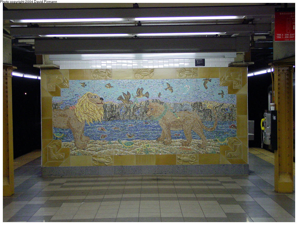 (186k, 1044x788)<br><b>Country:</b> United States<br><b>City:</b> New York<br><b>System:</b> New York City Transit<br><b>Line:</b> IRT West Side Line<br><b>Location:</b> 34th Street/Penn Station<br><b>Photo by:</b> David Pirmann<br><b>Date:</b> 10/29/2004<br><b>Artwork:</b> <i>When the Animals Speak</i>, Elizabeth Grajales, 1998<br><b>Notes:</b> Art installation, south end.<br><b>Viewed (this week/total):</b> 5 / 5858