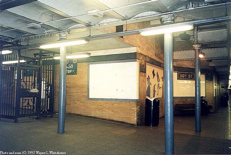 (96k, 743x497)<br><b>Country:</b> United States<br><b>City:</b> New York<br><b>System:</b> New York City Transit<br><b>Line:</b> IRT West Side Line<br><b>Location:</b> 50th Street<br><b>Photo by:</b> Wayne Whitehorne<br><b>Date:</b> 1998<br><b>Viewed (this week/total):</b> 1 / 4956