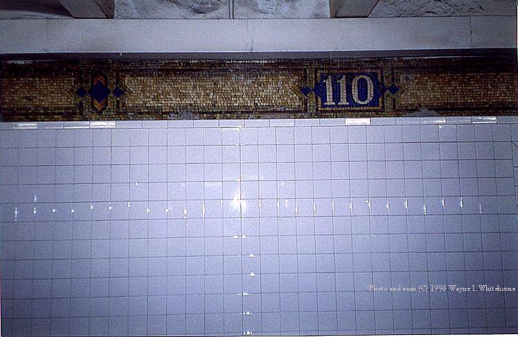 (78k, 748x487)<br><b>Country:</b> United States<br><b>City:</b> New York<br><b>System:</b> New York City Transit<br><b>Line:</b> IRT East Side Line<br><b>Location:</b> 110th Street<br><b>Photo by:</b> Wayne Whitehorne<br><b>Date:</b> 10/3/1998<br><b>Notes:</b> Restored tilework<br><b>Viewed (this week/total):</b> 3 / 4937