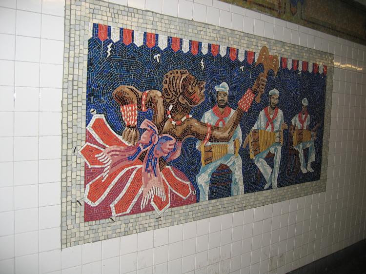 (92k, 750x562)<br><b>Country:</b> United States<br><b>City:</b> New York<br><b>System:</b> New York City Transit<br><b>Line:</b> IRT East Side Line<br><b>Location:</b> 110th Street<br><b>Photo by:</b> Robbie Rosenfeld<br><b>Date:</b> 3/2/2005<br><b>Artwork:</b> <i>Un Sabado en la Ciento Diez (A Saturday on 110th Street)</i>, Manuel Vega, 1996<br><b>Viewed (this week/total):</b> 1 / 8038