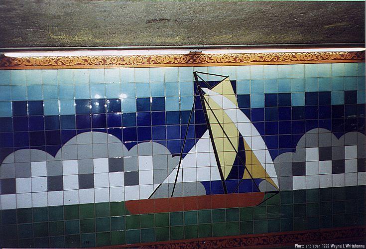 (86k, 735x500)<br><b>Country:</b> United States<br><b>City:</b> New York<br><b>System:</b> New York City Transit<br><b>Line:</b> IRT West Side Line<br><b>Location:</b> South Ferry (Outer Loop Station)<br><b>Photo by:</b> Wayne Whitehorne<br><b>Date:</b> 1998<br><b>Artwork:</b> <i>South Sails</i>, Sandra Bloodworth, 1990<br><b>Viewed (this week/total):</b> 4 / 6645