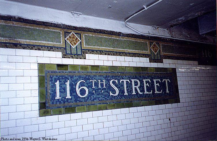 (103k, 752x489)<br><b>Country:</b> United States<br><b>City:</b> New York<br><b>System:</b> New York City Transit<br><b>Line:</b> IRT East Side Line<br><b>Location:</b> 116th Street<br><b>Photo by:</b> Wayne Whitehorne<br><b>Date:</b> 11/7/1998<br><b>Viewed (this week/total):</b> 0 / 4892
