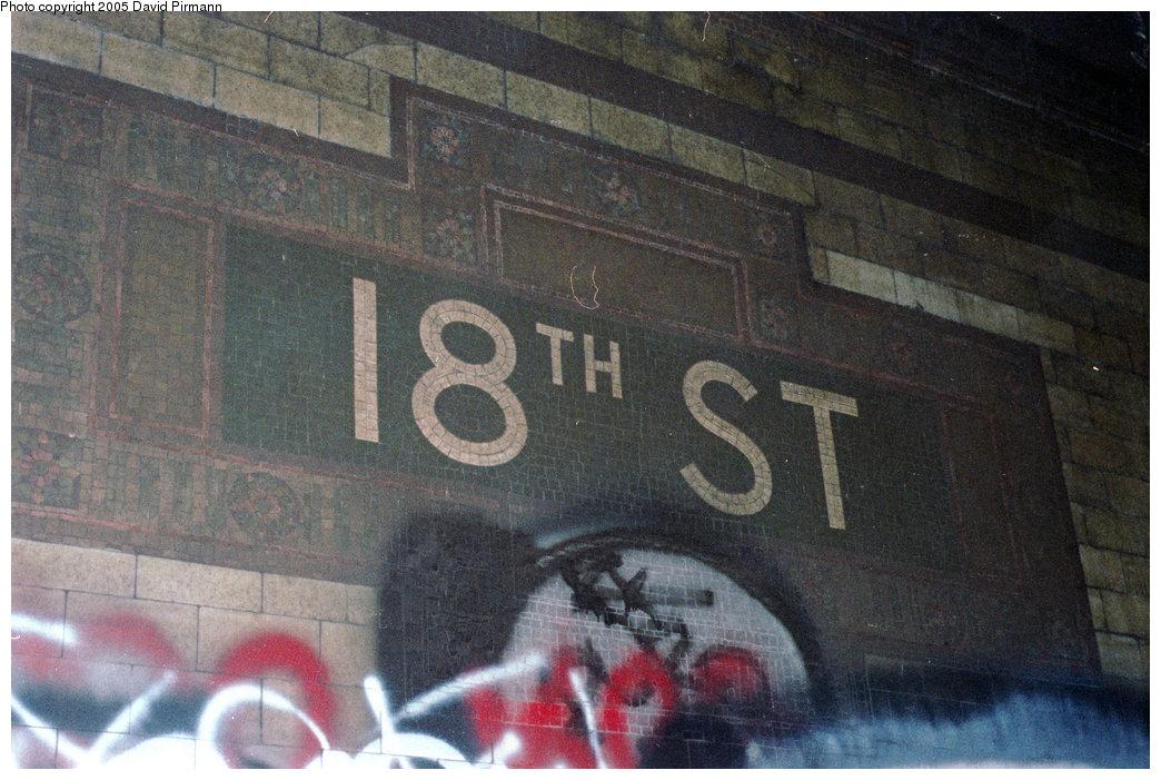 (222k, 1044x701)<br><b>Country:</b> United States<br><b>City:</b> New York<br><b>System:</b> New York City Transit<br><b>Line:</b> IRT East Side Line<br><b>Location:</b> 18th Street<br><b>Photo by:</b> David Pirmann<br><b>Date:</b> 9/24/1995<br><b>Notes:</b> Name tablet, Heins & LaFarge/Manhattan Glass Tile Company, 1904. Original design element, Contract 1 IRT.<br><b>Viewed (this week/total):</b> 5 / 23716