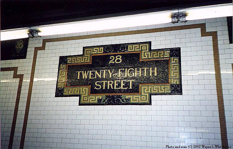 (99k, 753x482)<br><b>Country:</b> United States<br><b>City:</b> New York<br><b>System:</b> New York City Transit<br><b>Line:</b> IRT East Side Line<br><b>Location:</b> 28th Street<br><b>Photo by:</b> Wayne Whitehorne<br><b>Date:</b> 11/28/1997<br><b>Notes:</b> Faience name tablet, Heins & LaFarge/Grueby Faience Company, 1904. Original design element, Contract 1 IRT.<br><b>Viewed (this week/total):</b> 2 / 4667