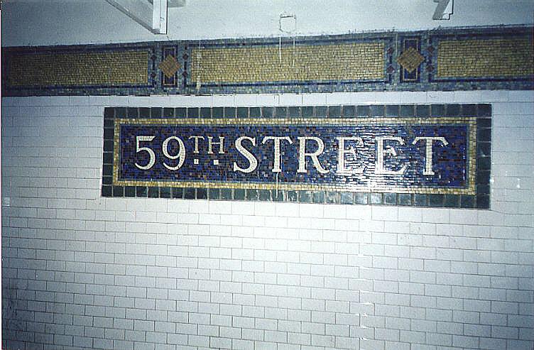 (105k, 752x493)<br><b>Country:</b> United States<br><b>City:</b> New York<br><b>System:</b> New York City Transit<br><b>Line:</b> IRT East Side Line<br><b>Location:</b> 59th Street<br><b>Photo by:</b> Wayne Whitehorne<br><b>Date:</b> 1/31/1998<br><b>Notes:</b> Original name tablet<br><b>Viewed (this week/total):</b> 1 / 4746