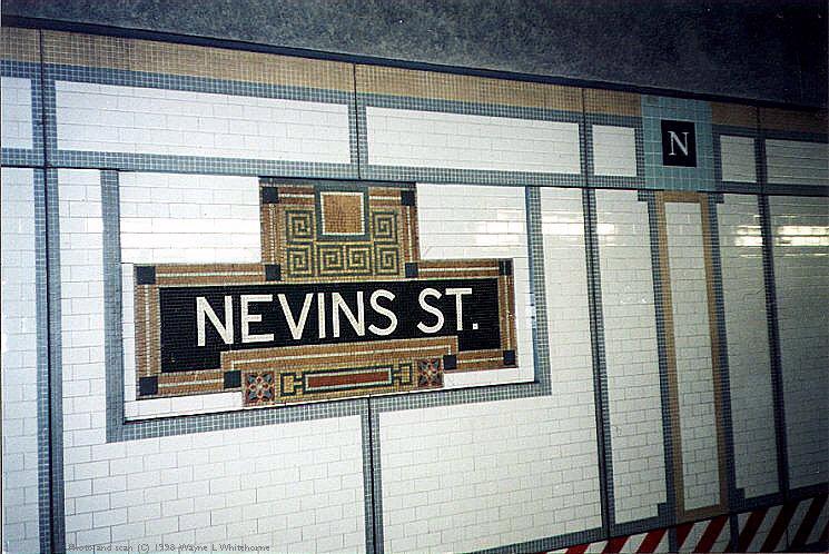 (105k, 745x498)<br><b>Country:</b> United States<br><b>City:</b> New York<br><b>System:</b> New York City Transit<br><b>Line:</b> IRT Brooklyn Line<br><b>Location:</b> Nevins Street<br><b>Photo by:</b> Wayne Whitehorne<br><b>Date:</b> 1/31/1998<br><b>Notes:</b> Nevins Street-original tablet<br><b>Viewed (this week/total):</b> 0 / 11252