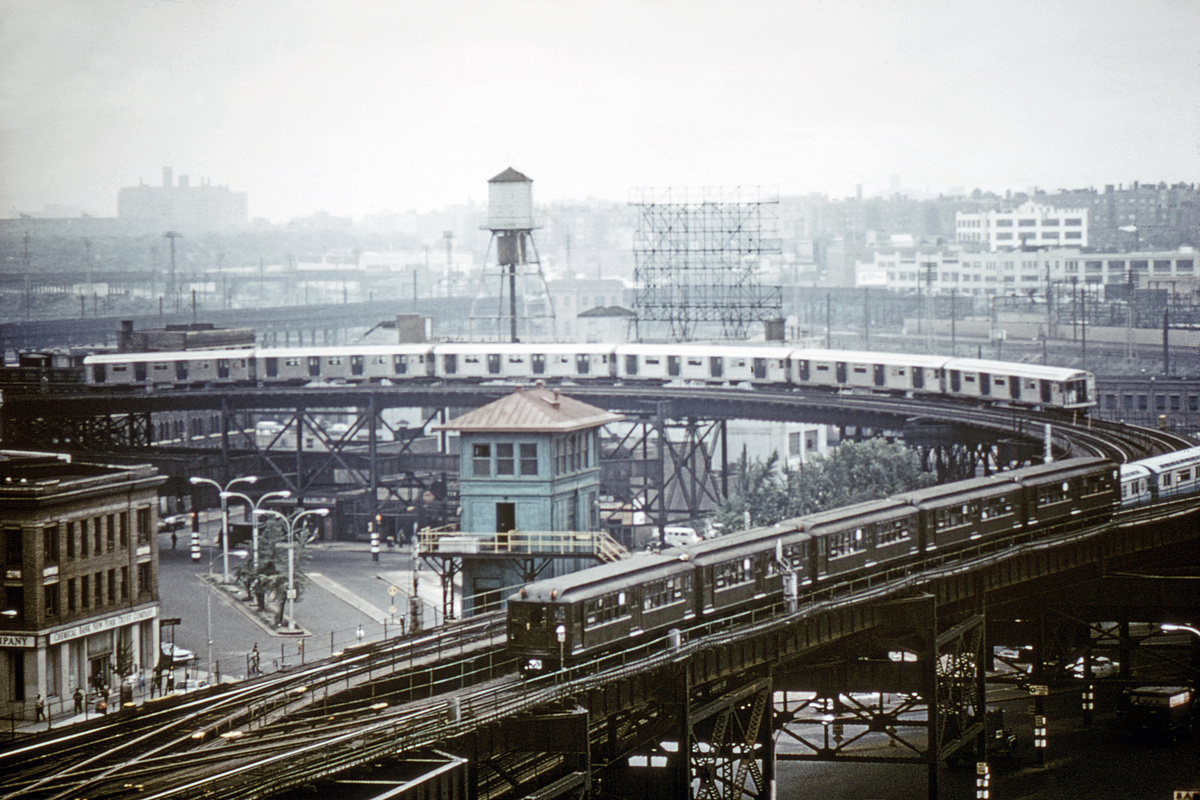 (459k, 1200x800)<br><b>Country:</b> United States<br><b>City:</b> New York<br><b>System:</b> New York City Transit<br><b>Line:</b> IRT Flushing Line<br><b>Location:</b> Queensborough Plaza<br><b>Route:</b> Fan Trip<br><b>Car:</b> Low-V (Museum Train)  <br><b>Collection of:</b> David Pirmann<br><b>Date:</b> 7/22/1965<br><b>Notes:</b> 3 trains: R32s on the N, Low-Vs on Fantrip, R36s on #7<br><b>Viewed (this week/total):</b> 2 / 6618