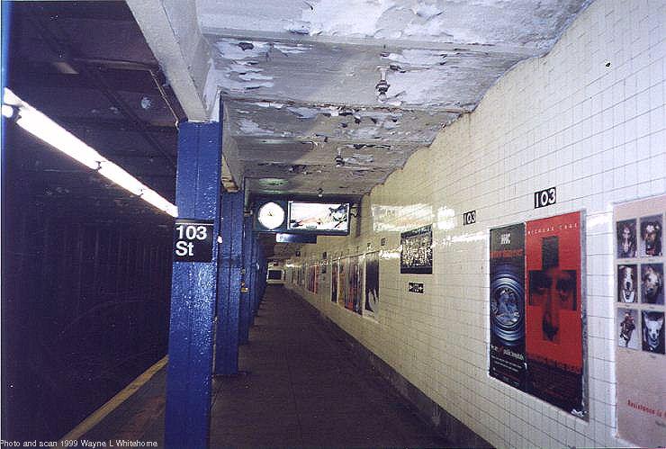 (71k, 740x499)<br><b>Country:</b> United States<br><b>City:</b> New York<br><b>System:</b> New York City Transit<br><b>Line:</b> IND 8th Avenue Line<br><b>Location:</b> 103rd Street<br><b>Photo by:</b> Wayne Whitehorne<br><b>Date:</b> 10/3/1999<br><b>Viewed (this week/total):</b> 1 / 5183