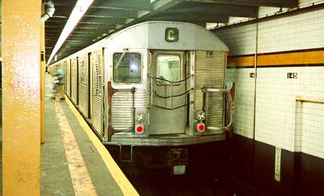 (18k, 457x277)<br><b>Country:</b> United States<br><b>City:</b> New York<br><b>System:</b> New York City Transit<br><b>Line:</b> IND 8th Avenue Line<br><b>Location:</b> 145th Street<br><b>Route:</b> C<br><b>Car:</b> R-32 (Budd, 1964)  <br><b>Photo by:</b> Trevor Logan<br><b>Date:</b> 7/1999<br><b>Viewed (this week/total):</b> 2 / 7345