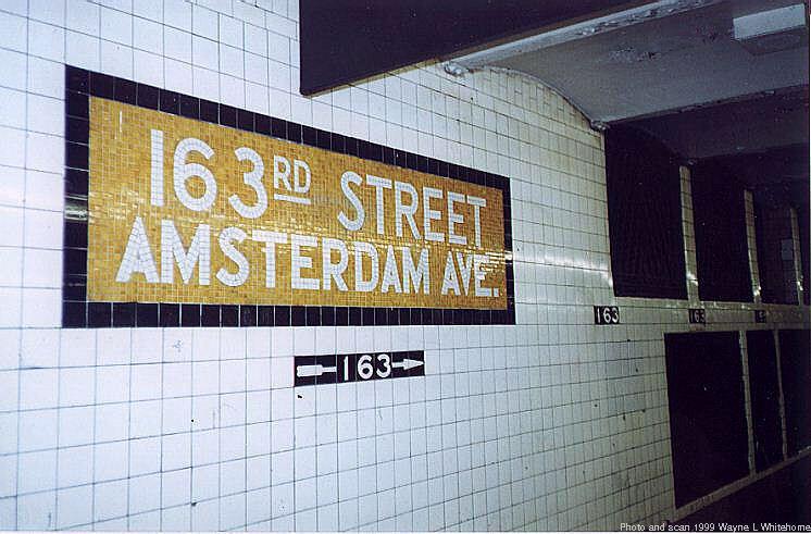(74k, 746x491)<br><b>Country:</b> United States<br><b>City:</b> New York<br><b>System:</b> New York City Transit<br><b>Line:</b> IND 8th Avenue Line<br><b>Location:</b> 163rd Street/Amsterdam Avenue<br><b>Route:</b> C<br><b>Photo by:</b> Wayne Whitehorne<br><b>Date:</b> 9/24/1999<br><b>Viewed (this week/total):</b> 0 / 4055