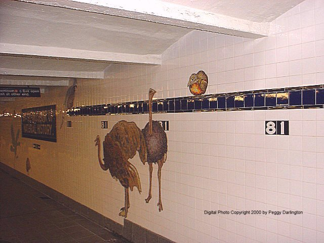 (66k, 640x480)<br><b>Country:</b> United States<br><b>City:</b> New York<br><b>System:</b> New York City Transit<br><b>Line:</b> IND 8th Avenue Line<br><b>Location:</b> 81st Street/Museum of Natural History<br><b>Photo by:</b> Peggy Darlington<br><b>Date:</b> 2000<br><b>Artwork:</b> <i>For Want of a Nail</i>, MTA Arts For Transit Collaborative, 1999<br><b>Viewed (this week/total):</b> 0 / 10344