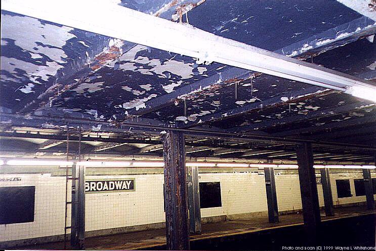 (107k, 743x497)<br><b>Country:</b> United States<br><b>City:</b> New York<br><b>System:</b> New York City Transit<br><b>Line:</b> IND Crosstown Line<br><b>Location:</b> Broadway<br><b>Photo by:</b> Wayne Whitehorne<br><b>Date:</b> 1/28/1999<br><b>Notes:</b> Water damage<br><b>Viewed (this week/total):</b> 2 / 5510