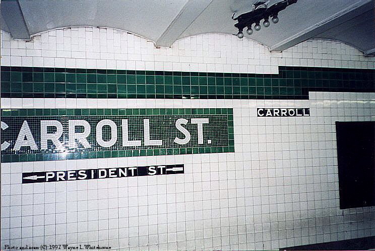 (100k, 744x499)<br><b>Country:</b> United States<br><b>City:</b> New York<br><b>System:</b> New York City Transit<br><b>Line:</b> IND Crosstown Line<br><b>Location:</b> Carroll Street<br><b>Photo by:</b> Wayne Whitehorne<br><b>Date:</b> 12/26/1997<br><b>Notes:</b> Carroll Street wall tablet<br><b>Viewed (this week/total):</b> 2 / 4338