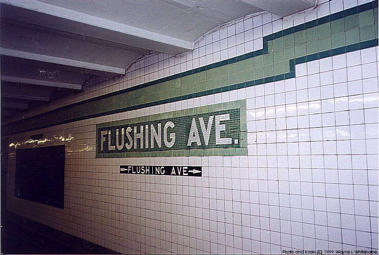 (94k, 744x501)<br><b>Country:</b> United States<br><b>City:</b> New York<br><b>System:</b> New York City Transit<br><b>Line:</b> IND Crosstown Line<br><b>Location:</b> Flushing Avenue<br><b>Photo by:</b> Wayne Whitehorne<br><b>Date:</b> 1/28/1999<br><b>Viewed (this week/total):</b> 3 / 4016