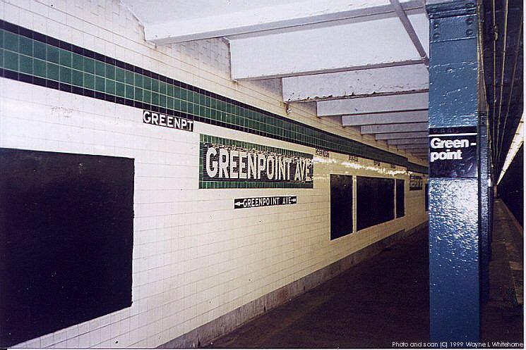 (90k, 745x497)<br><b>Country:</b> United States<br><b>City:</b> New York<br><b>System:</b> New York City Transit<br><b>Line:</b> IND Crosstown Line<br><b>Location:</b> Greenpoint Avenue<br><b>Photo by:</b> Wayne Whitehorne<br><b>Date:</b> 1/28/1999<br><b>Notes:</b> Wall tile<br><b>Viewed (this week/total):</b> 4 / 3934