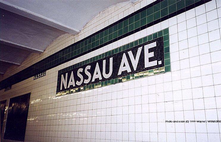 (89k, 743x478)<br><b>Country:</b> United States<br><b>City:</b> New York<br><b>System:</b> New York City Transit<br><b>Line:</b> IND Crosstown Line<br><b>Location:</b> Nassau Avenue<br><b>Photo by:</b> Wayne Whitehorne<br><b>Date:</b> 1/28/1999<br><b>Viewed (this week/total):</b> 1 / 4069