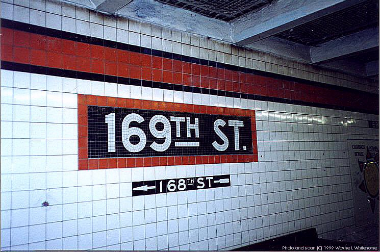 (103k, 745x494)<br><b>Country:</b> United States<br><b>City:</b> New York<br><b>System:</b> New York City Transit<br><b>Line:</b> IND Queens Boulevard Line<br><b>Location:</b> 169th Street<br><b>Photo by:</b> Wayne Whitehorne<br><b>Date:</b> 1/9/1999<br><b>Notes:</b> Wall tile<br><b>Viewed (this week/total):</b> 6 / 4638