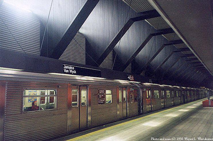 (104k, 740x492)<br><b>Country:</b> United States<br><b>City:</b> New York<br><b>System:</b> New York City Transit<br><b>Line:</b> IND Queens Boulevard Line<br><b>Location:</b> Jamaica/Van Wyck<br><b>Car:</b> R-32 (Budd, 1964) 3574 <br><b>Photo by:</b> Wayne Whitehorne<br><b>Date:</b> 1998<br><b>Viewed (this week/total):</b> 4 / 11969