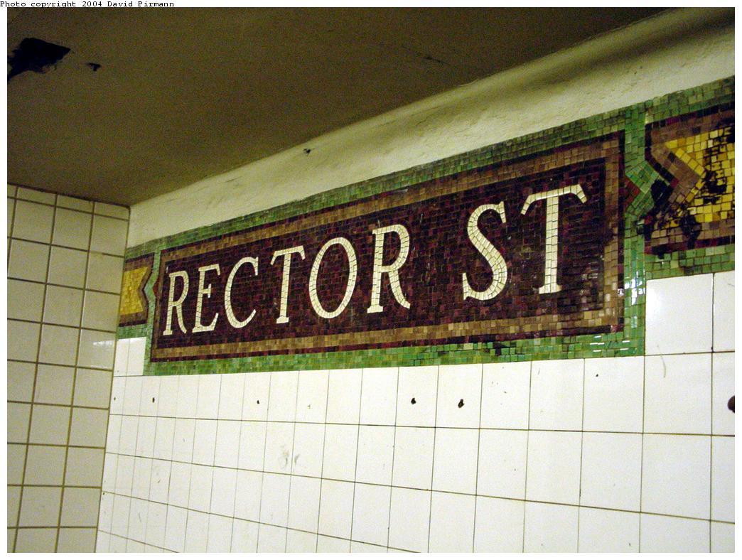 (141k, 1044x788)<br><b>Country:</b> United States<br><b>City:</b> New York<br><b>System:</b> New York City Transit<br><b>Line:</b> BMT Broadway Line<br><b>Location:</b> Rector Street<br><b>Photo by:</b> David Pirmann<br><b>Date:</b> 8/27/2000<br><b>Notes:</b> Last remaining mosaic name tablet on northbound platform<br><b>Viewed (this week/total):</b> 0 / 4190