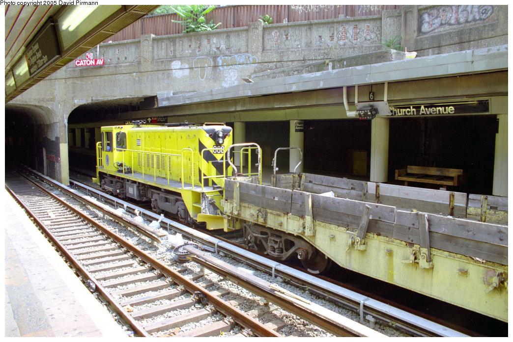 (261k, 1044x697)<br><b>Country:</b> United States<br><b>City:</b> New York<br><b>System:</b> New York City Transit<br><b>Line:</b> BMT Brighton Line<br><b>Location:</b> Church Avenue<br><b>Car:</b> R-77 Locomotive 888 <br><b>Photo by:</b> David Pirmann<br><b>Date:</b> 7/18/1998<br><b>Viewed (this week/total):</b> 7 / 6006