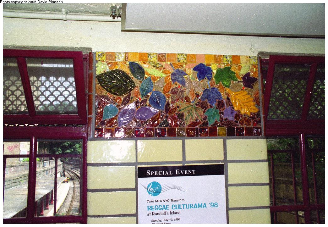 (279k, 1044x722)<br><b>Country:</b> United States<br><b>City:</b> New York<br><b>System:</b> New York City Transit<br><b>Line:</b> BMT Brighton Line<br><b>Location:</b> Parkside Avenue<br><b>Photo by:</b> David Pirmann<br><b>Date:</b> 7/18/1998<br><b>Artwork:</b> <i>Brighton Clay Re-Leaf</i>, Susan Tunick, 1994<br><b>Viewed (this week/total):</b> 2 / 5038