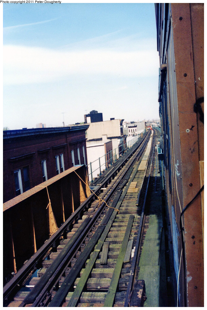 (376k, 699x1044)<br><b>Country:</b> United States<br><b>City:</b> New York<br><b>System:</b> New York City Transit<br><b>Line:</b> BMT Myrtle Avenue Line<br><b>Location:</b> Broadway/Myrtle Avenue (Upper Level)<br><b>Photo by:</b> Peter Dougherty<br><b>Notes:</b> View of southbound trackway (looking north) on upper level<br><b>Viewed (this week/total):</b> 1 / 8614