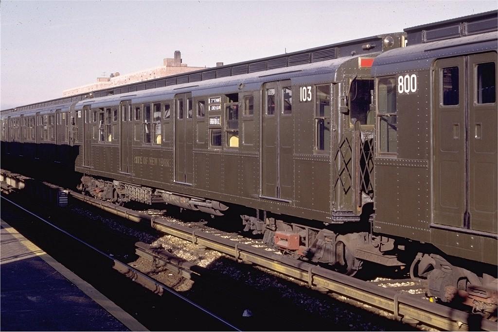 (200k, 1024x684)<br><b>Country:</b> United States<br><b>City:</b> New York<br><b>System:</b> New York City Transit<br><b>Line:</b> BMT Brighton Line<br><b>Location:</b> Avenue U<br><b>Car:</b> R-1 (American Car & Foundry, 1930-1931) 103 <br><b>Photo by:</b> Doug Grotjahn<br><b>Collection of:</b> Joe Testagrose<br><b>Date:</b> 12/5/1971<br><b>Viewed (this week/total):</b> 3 / 5470
