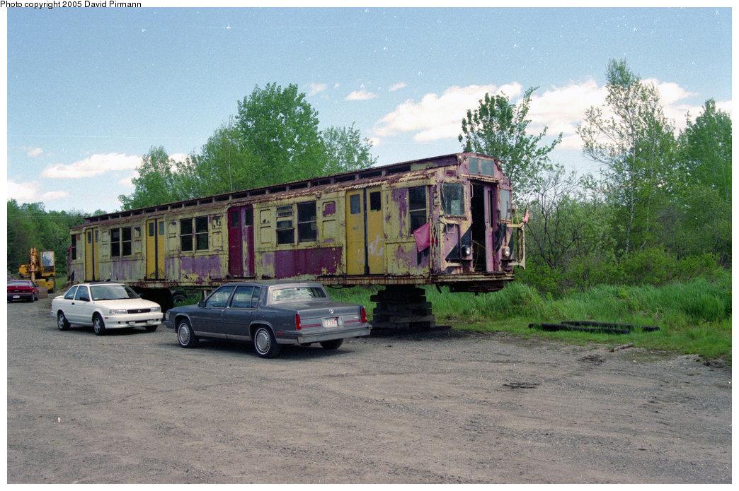 (234k, 1044x695)<br><b>Country:</b> United States<br><b>City:</b> Kennebunk, ME<br><b>System:</b> Seashore Trolley Museum<br><b>Car:</b> R-1 (American Car & Foundry, 1930-1931) 175 <br><b>Photo by:</b> David Pirmann<br><b>Date:</b> 5/25/1996<br><b>Notes:</b> Stripped, truckless, used for storage<br><b>Viewed (this week/total):</b> 3 / 15301