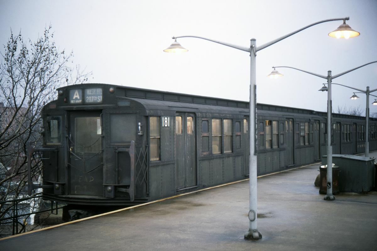 (341k, 1200x800)<br><b>Country:</b> United States<br><b>City:</b> New York<br><b>System:</b> New York City Transit<br><b>Line:</b> IND Rockaway Line<br><b>Location:</b> Mott Avenue/Far Rockaway<br><b>Route:</b> A<br><b>Car:</b> R-1 (American Car & Foundry, 1930-1931) 181 <br><b>Photo by:</b> Doug Grotjahn<br><b>Collection of:</b> David Pirmann<br><b>Date:</b> 2/1/1969<br><b>Viewed (this week/total):</b> 2 / 5538