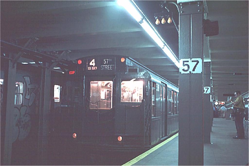 (125k, 1024x683)<br><b>Country:</b> United States<br><b>City:</b> New York<br><b>System:</b> New York City Transit<br><b>Line:</b> BMT Broadway Line<br><b>Location:</b> 57th Street<br><b>Route:</b> Fan Trip<br><b>Car:</b> R-1 (American Car & Foundry, 1930-1931) 381 <br><b>Photo by:</b> Doug Grotjahn<br><b>Collection of:</b> Joe Testagrose<br><b>Date:</b> 7/4/1976<br><b>Viewed (this week/total):</b> 0 / 4924