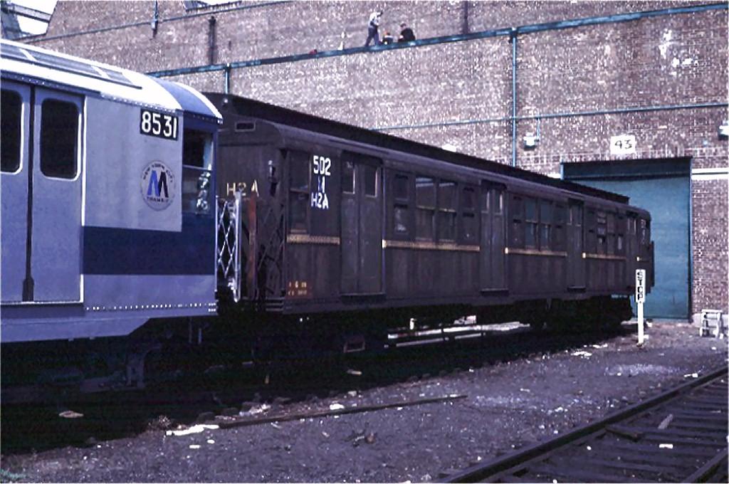 (197k, 1024x680)<br><b>Country:</b> United States<br><b>City:</b> New York<br><b>System:</b> New York City Transit<br><b>Location:</b> Coney Island Yard<br><b>Car:</b> R-1 (American Car & Foundry, 1930-1931) M502 (ex-399)<br><b>Photo by:</b> Steve Zabel<br><b>Collection of:</b> Joe Testagrose<br><b>Date:</b> 4/13/1971<br><b>Viewed (this week/total):</b> 5 / 3306