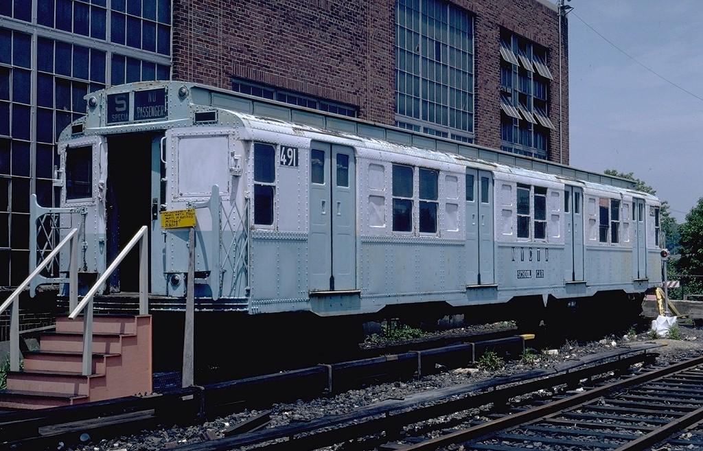 (249k, 1024x657)<br><b>Country:</b> United States<br><b>City:</b> New York<br><b>System:</b> New York City Transit<br><b>Location:</b> Jamaica Yard/Shops<br><b>Car:</b> R-4 (American Car & Foundry, 1932-1933) 491 (ex-401)<br><b>Photo by:</b> Steve Zabel<br><b>Collection of:</b> Joe Testagrose<br><b>Date:</b> 6/22/1981<br><b>Viewed (this week/total):</b> 3 / 6075