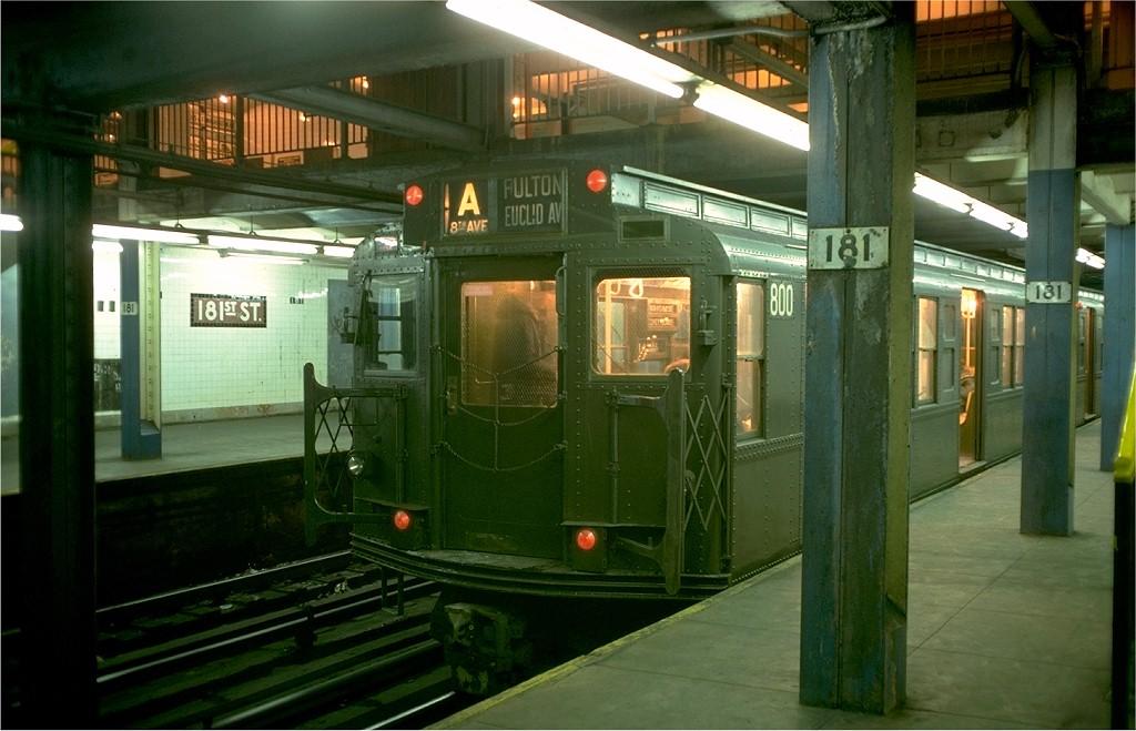 (175k, 1024x659)<br><b>Country:</b> United States<br><b>City:</b> New York<br><b>System:</b> New York City Transit<br><b>Line:</b> IND 8th Avenue Line<br><b>Location:</b> 181st Street<br><b>Route:</b> Fan Trip<br><b>Car:</b> R-4 (American Car & Foundry, 1932-1933) 800 <br><b>Photo by:</b> Steve Zabel<br><b>Collection of:</b> Joe Testagrose<br><b>Date:</b> 1/23/1977<br><b>Viewed (this week/total):</b> 2 / 7927