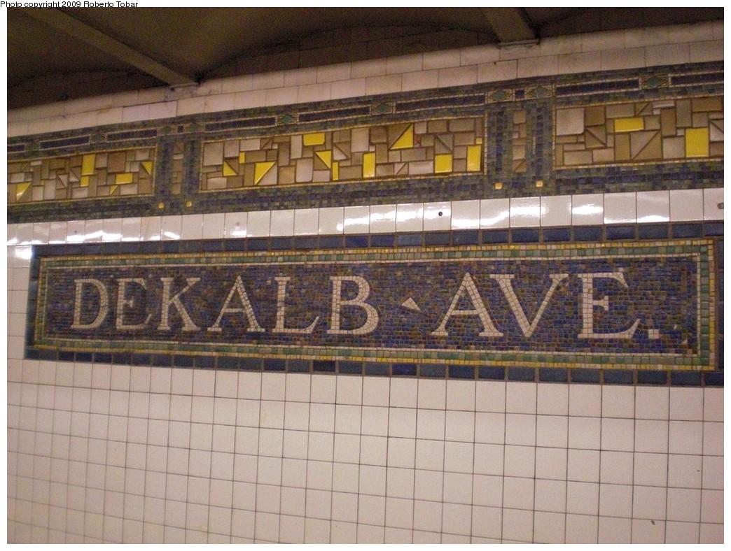 (258k, 1044x788)<br><b>Country:</b> United States<br><b>City:</b> New York<br><b>System:</b> New York City Transit<br><b>Line:</b> BMT Canarsie Line<br><b>Location:</b> DeKalb Avenue<br><b>Photo by:</b> Roberto C. Tobar<br><b>Date:</b> 4/11/2009<br><b>Notes:</b> Mosaic name tablet.<br><b>Viewed (this week/total):</b> 2 / 1426