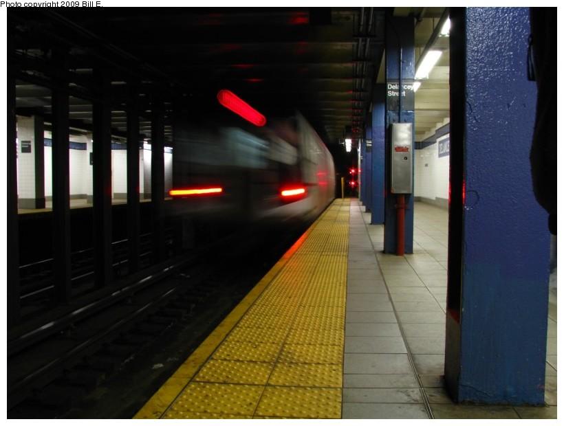 (104k, 820x620)<br><b>Country:</b> United States<br><b>City:</b> New York<br><b>System:</b> New York City Transit<br><b>Line:</b> IND 6th Avenue Line<br><b>Location:</b> Delancey Street<br><b>Route:</b> F<br><b>Car:</b> R-160A (Option 1) (Alstom, 2008-2009, 5 car sets)  <br><b>Photo by:</b> Bill E.<br><b>Date:</b> 4/17/2009<br><b>Viewed (this week/total):</b> 0 / 2105