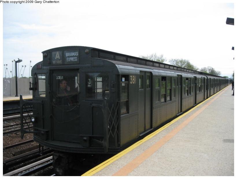 (98k, 820x620)<br><b>Country:</b> United States<br><b>City:</b> New York<br><b>System:</b> New York City Transit<br><b>Line:</b> IND Rockaway Line<br><b>Location:</b> Aqueduct/North Conduit Avenue<br><b>Route:</b> Museum Train Service (A)<br><b>Car:</b> R-1 (American Car & Foundry, 1930-1931) 381 <br><b>Photo by:</b> Gary Chatterton<br><b>Date:</b> 4/29/2009<br><b>Notes:</b> Duke Ellington Day promotion by Jet Blue & the Bahamas.<br><b>Viewed (this week/total):</b> 2 / 3172