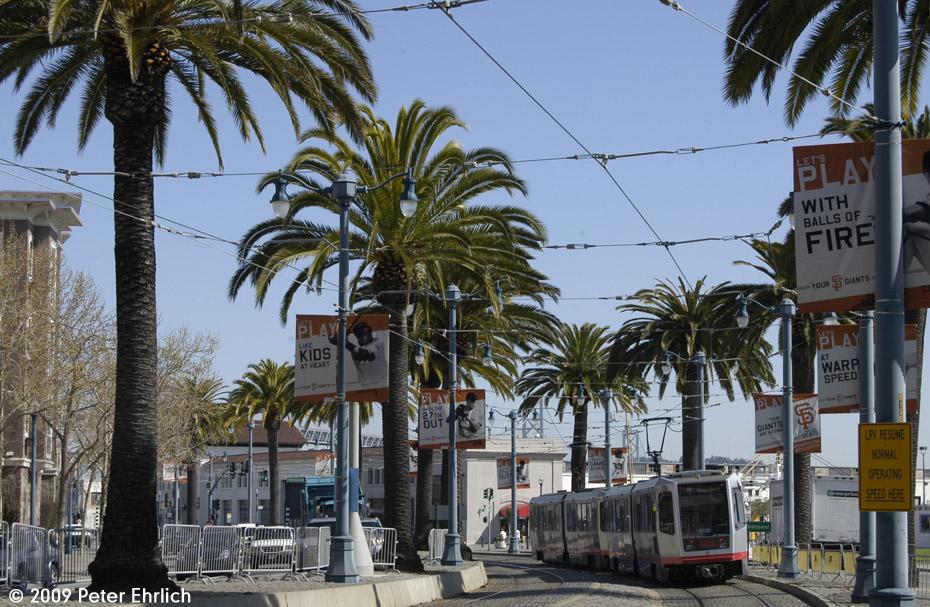 (267k, 930x607)<br><b>Country:</b> United States<br><b>City:</b> San Francisco/Bay Area, CA<br><b>System:</b> SF MUNI<br><b>Line:</b> MUNI Metro (Embarcadero)<br><b>Location:</b> <b><u>2nd/King (Pac Bell Park)</u></b><br><b>Car:</b> SF MUNI Breda LRV 1491 <br><b>Photo by:</b> Peter Ehrlich<br><b>Date:</b> 4/6/2009<br><b>Notes:</b> Outbound.<br><b>Viewed (this week/total):</b> 2 / 491