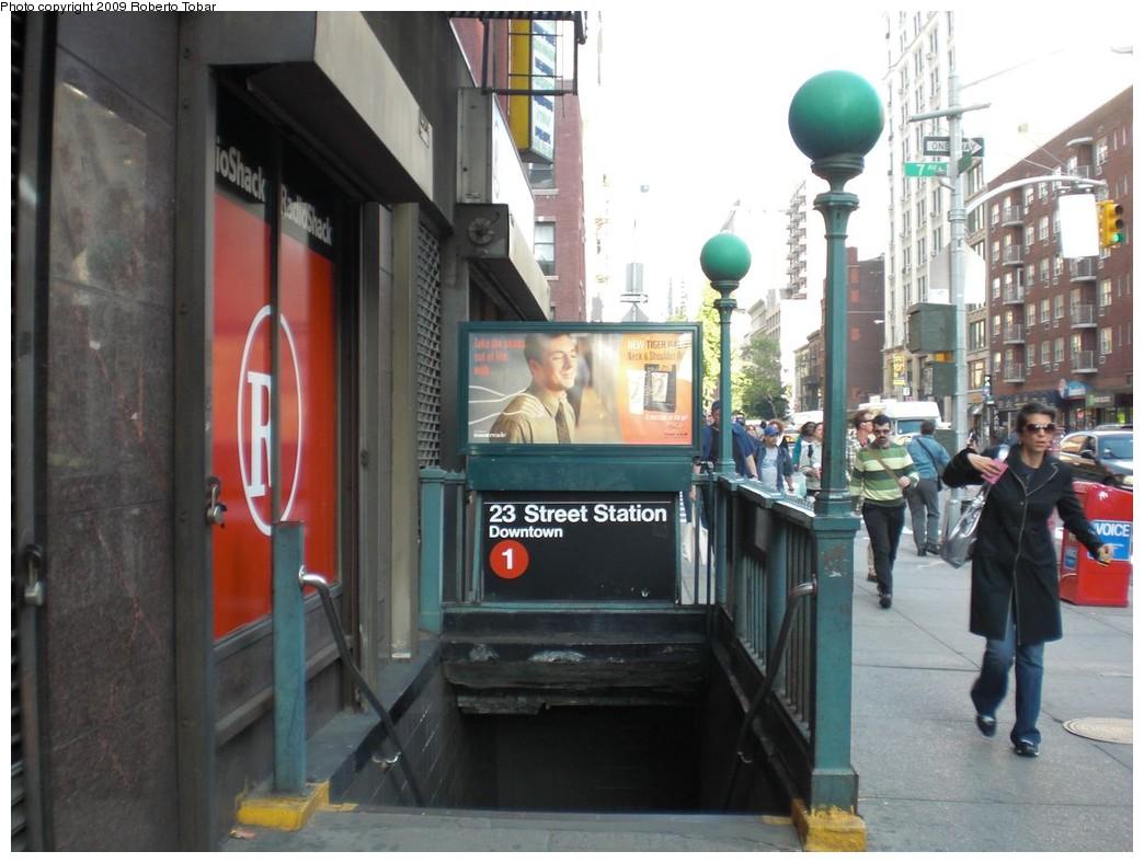 (222k, 1044x788)<br><b>Country:</b> United States<br><b>City:</b> New York<br><b>System:</b> New York City Transit<br><b>Line:</b> IRT West Side Line<br><b>Location:</b> 23rd Street<br><b>Photo by:</b> Roberto C. Tobar<br><b>Date:</b> 5/13/2009<br><b>Notes:</b> Station entrance.<br><b>Viewed (this week/total):</b> 0 / 2620