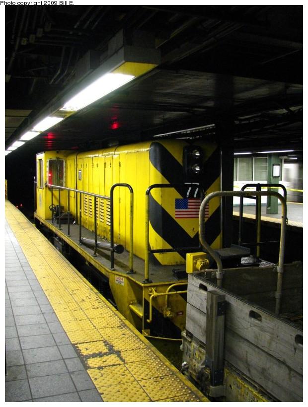 (147k, 620x820)<br><b>Country:</b> United States<br><b>City:</b> New York<br><b>System:</b> New York City Transit<br><b>Line:</b> IRT West Side Line<br><b>Location:</b> Times Square/42nd Street<br><b>Route:</b> Work Service<br><b>Car:</b> R-52 Locomotive 77 <br><b>Photo by:</b> Bill E.<br><b>Date:</b> 5/9/2009<br><b>Viewed (this week/total):</b> 0 / 1602