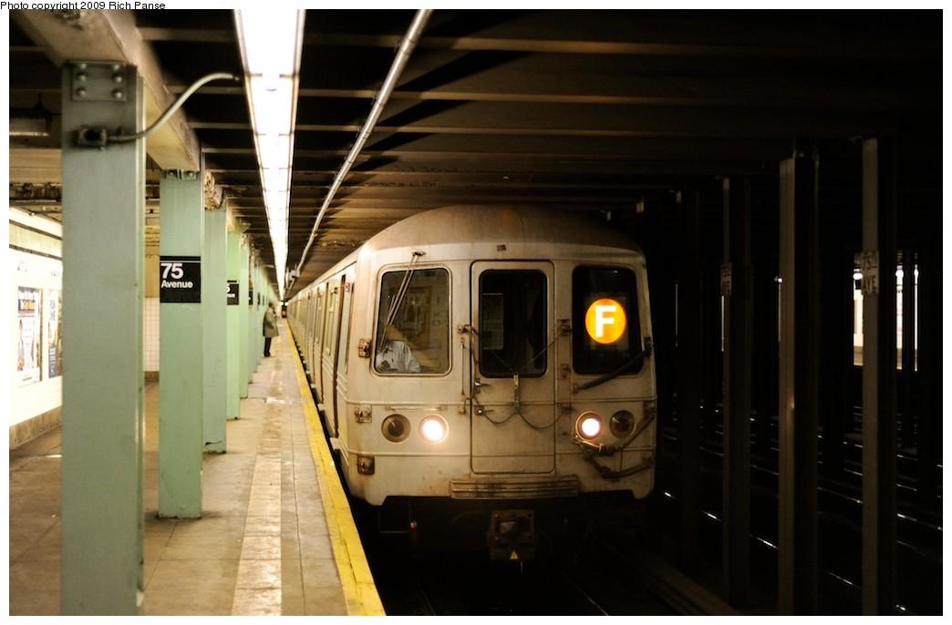 (132k, 1044x686)<br><b>Country:</b> United States<br><b>City:</b> New York<br><b>System:</b> New York City Transit<br><b>Line:</b> IND Queens Boulevard Line<br><b>Location:</b> 75th Avenue<br><b>Route:</b> F<br><b>Car:</b> R-46 (Pullman-Standard, 1974-75) 5710 <br><b>Photo by:</b> Richard Panse<br><b>Date:</b> 3/30/2009<br><b>Viewed (this week/total):</b> 4 / 2144