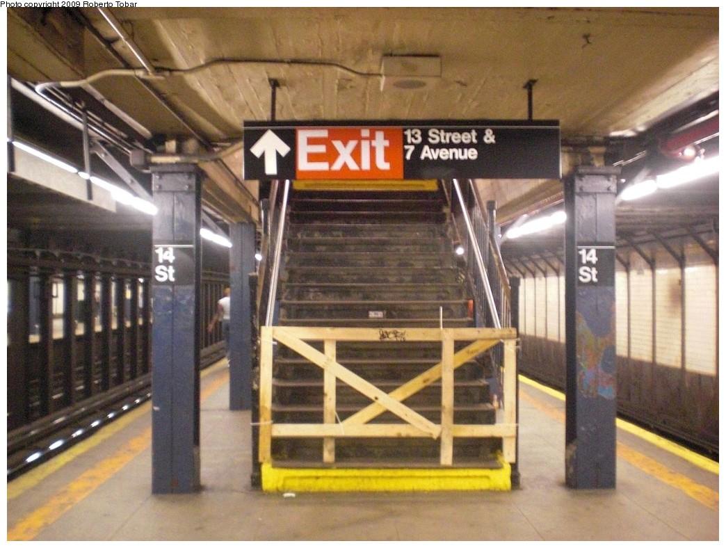 (246k, 1044x788)<br><b>Country:</b> United States<br><b>City:</b> New York<br><b>System:</b> New York City Transit<br><b>Line:</b> IRT West Side Line<br><b>Location:</b> 14th Street<br><b>Photo by:</b> Roberto C. Tobar<br><b>Date:</b> 5/30/2009<br><b>Notes:</b> Closed stairway.<br><b>Viewed (this week/total):</b> 4 / 2455
