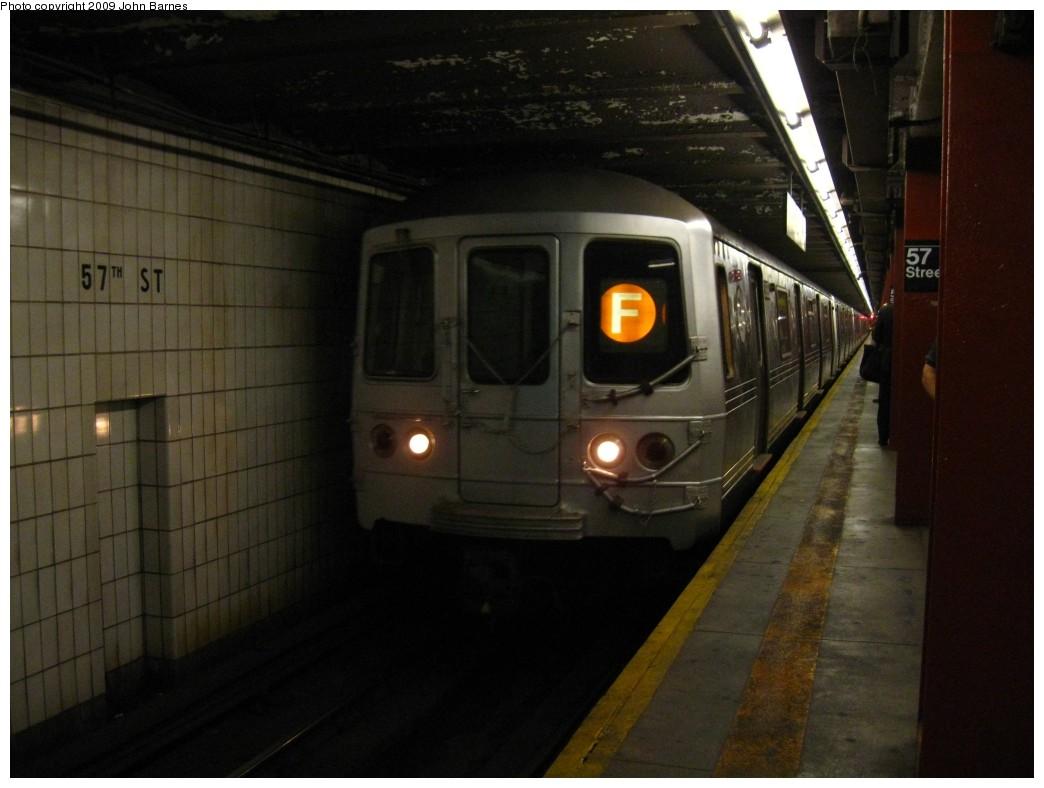 (158k, 1044x788)<br><b>Country:</b> United States<br><b>City:</b> New York<br><b>System:</b> New York City Transit<br><b>Line:</b> IND 6th Avenue Line<br><b>Location:</b> 57th Street<br><b>Route:</b> F<br><b>Car:</b> R-46 (Pullman-Standard, 1974-75) 5888 <br><b>Photo by:</b> John Barnes<br><b>Date:</b> 6/2/2009<br><b>Viewed (this week/total):</b> 1 / 2097