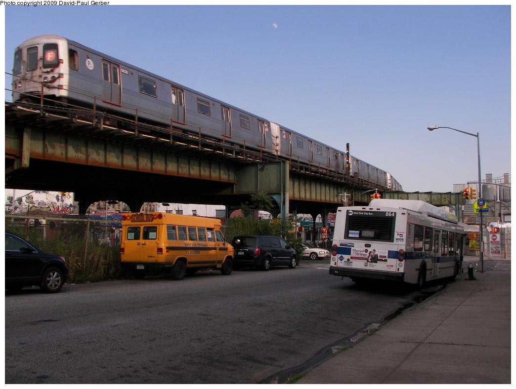 (237k, 1044x788)<br><b>Country:</b> United States<br><b>City:</b> New York<br><b>System:</b> New York City Transit<br><b>Line:</b> BMT Culver Line<br><b>Location:</b> Ditmas Avenue<br><b>Route:</b> F<br><b>Car:</b> R-46 (Pullman-Standard, 1974-75) 5628 <br><b>Photo by:</b> David-Paul Gerber<br><b>Date:</b> 7/1/2009<br><b>Viewed (this week/total):</b> 25 / 2063