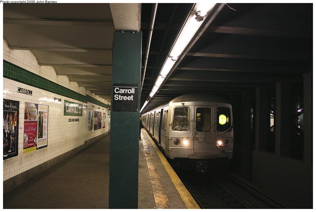 (189k, 1044x703)<br><b>Country:</b> United States<br><b>City:</b> New York<br><b>System:</b> New York City Transit<br><b>Line:</b> IND Crosstown Line<br><b>Location:</b> Carroll Street<br><b>Route:</b> G<br><b>Car:</b> R-46 (Pullman-Standard, 1974-75) 6104 <br><b>Photo by:</b> John Barnes<br><b>Date:</b> 6/22/2009<br><b>Viewed (this week/total):</b> 1 / 2938