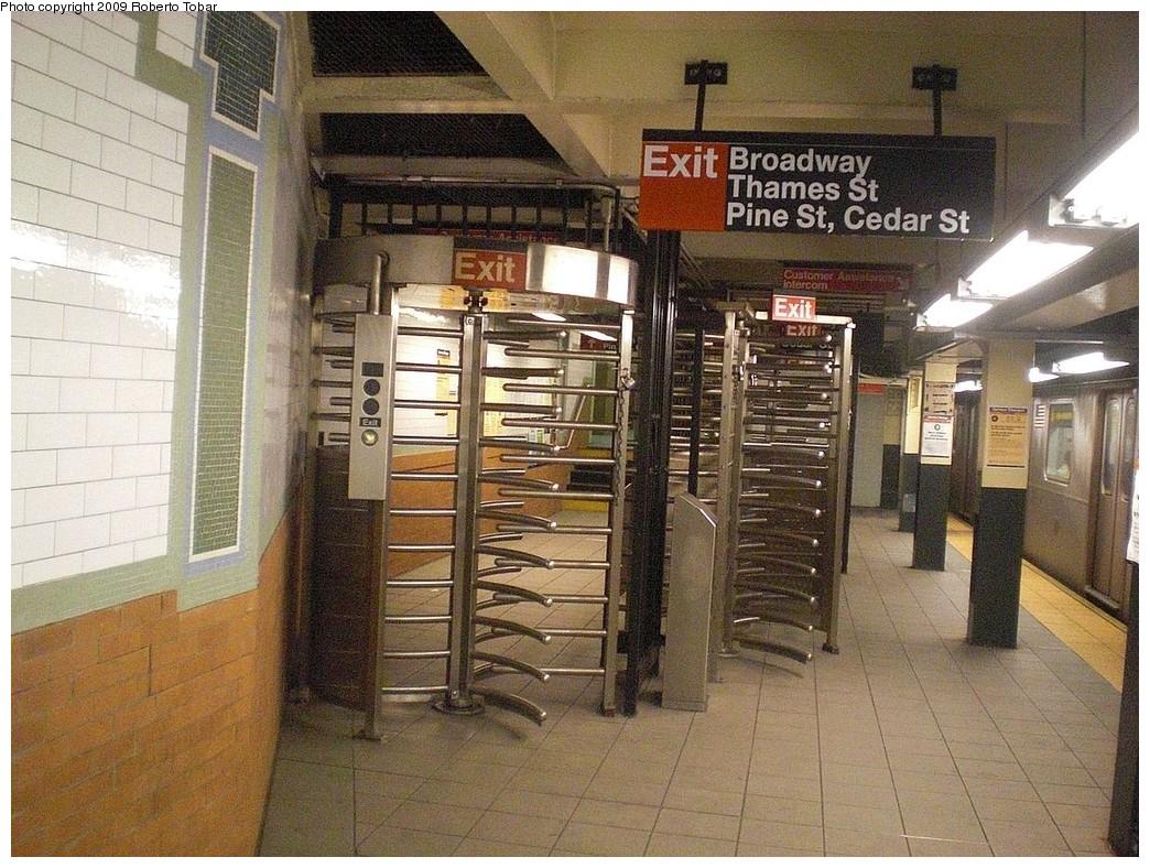 (316k, 1044x788)<br><b>Country:</b> United States<br><b>City:</b> New York<br><b>System:</b> New York City Transit<br><b>Line:</b> IRT East Side Line<br><b>Location:</b> Wall Street<br><b>Photo by:</b> Roberto C. Tobar<br><b>Date:</b> 7/10/2009<br><b>Notes:</b> Hi exit turnstiles.<br><b>Viewed (this week/total):</b> 2 / 1707